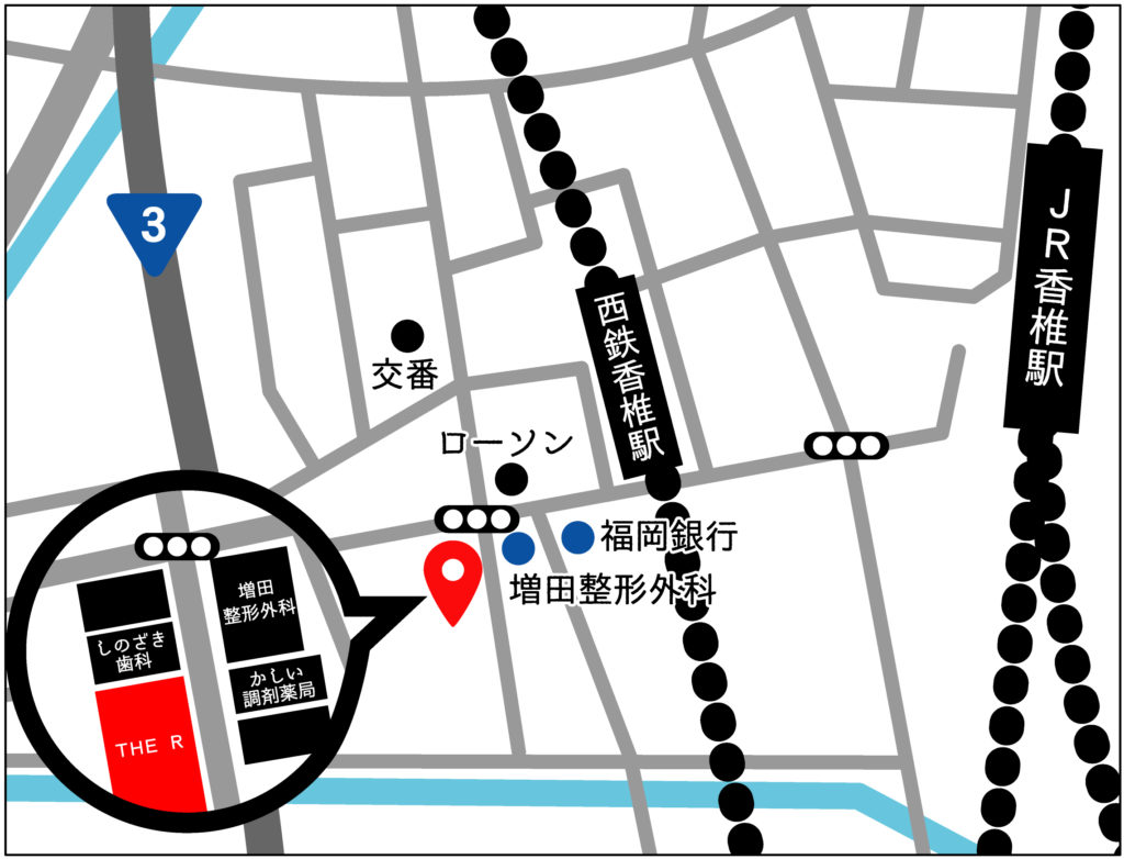 香椎ヨガスタジオ地図イラスト
